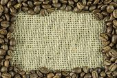 A frame composed of coffee beans and jute bag