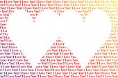 Hearts shaped words I Love You, isolated on white background