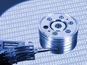 Macro of computer hard drive - technology background