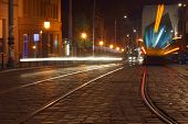 Car and trams lights in the street