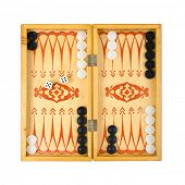 Retro backgammon game and dices, isolated on white background