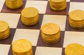 Money on chess board, concept business background