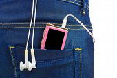 MP3 player in jeans pocket isolated on white background