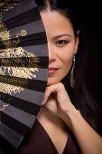 Portrait of asian woman with hand fan