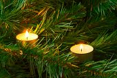 Candles and christmas tree, abstract holiday background