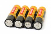 Set of batteries isolated on white background