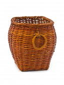 Retro wood basket isolated on white background