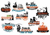 Set of Happy Halloween vector banners