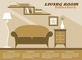 stock photo of lamp shade  - Living room interiors  in shades of brown with text copyspace and a sofa - JPG