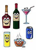 Happy cartoon beverage characters
