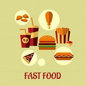 Fast food flat poster design