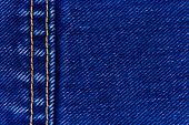 Macro of jeans denim and seam, abstract textile background