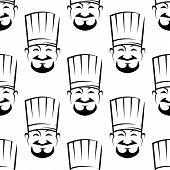 picture of chef cap  - Smiling chefs seamless background pattern with black and white vector icons of a bearded chef wearing a traditional white toque - JPG