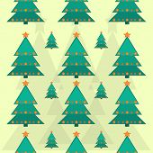 Seamless pattern of Christmas trees with stars flat design.