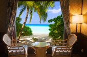Hotel room and landscape - vacation concept background