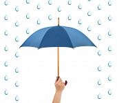 Hand with umbrella and rain isolated on white background