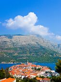 Town Korcula in Croatia - abstact travel background