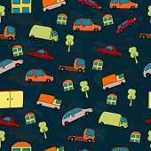Seamless pattern cartoon cars houses and trees on a dark blue background.
