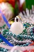 White Christmas Balls, New Year Decoration, Close Up