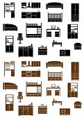 Set of flat furniture icons