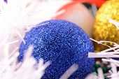 Blue And Yellow Christmas Balls Close Up