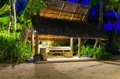 Bus stop at tropical island - travel background