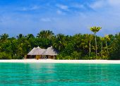 Bungalow on a tropical beach - travel background