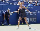 Professional tennis player Agnieszka Radwanska during first round match at US Open 2014