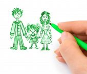 Hand drawing happy family (my original picture) isolated on white background