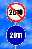Round sign 2011 - New Year concept, sky on background