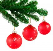 Christmas tree and balls isolated on white background