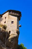 Meteora monastery and lift cage in Greece - travel background