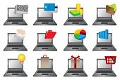 Laptop Computer With Icons Vector Illustration