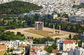 Temple of the Olympian Zeus at Athens, Greece - view from Acropolis