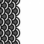 Geometric scallop seamless border pattern in black and white, vector
