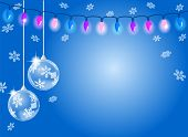 Abstract Blue Snowflake Background With Two Christmas Baubles