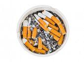 Ashtray and cigarettes isolated on white background