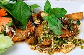 Thai Food Name Is Fried Fish With Spicy Salad