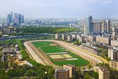 Racing track at Moscow hippodrome - aerial view