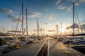 Yacht marina sunrise