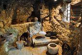 Interior of retro room in cave, Croatia