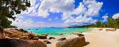 Panorama of beach Anse Lazio, Seychelles - vacation background