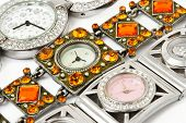 Group of woman watches - fashion background