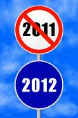 Round sign 2012 - New Year concept, sky on background