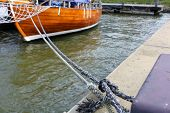 Boat Rope Tied To The Dock
