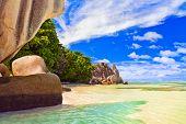 Beach Source d'Argent at Seychelles - nature background