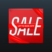 Sale red poster with ribbon up to 50 percent off on the box