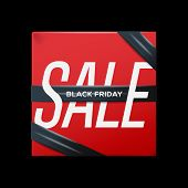 Sale red poster with ribbon Black Friday