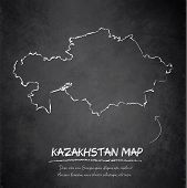 Kazakhstan map blackboard chalkboard vector
