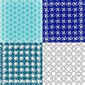 Set of  geometric pattern in op art design. Vector art.